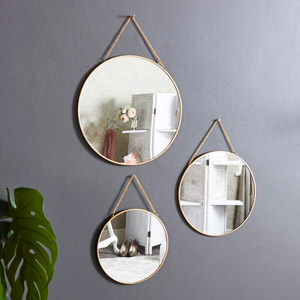 Set of 3 Gold Framed Circle Mirrors