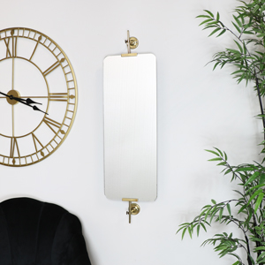 Tall Adjustable Brass Wall Mirror