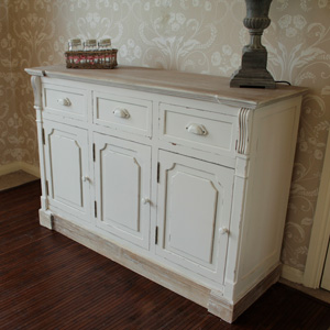 Cream 3 Drawer and 3 Cupboard Hall Dresser or Buffet Unit - Lyon Range