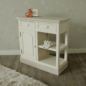 Cream Kitchen Unit / Sideboard with Drawer & Shelving Storage - Lyon Range