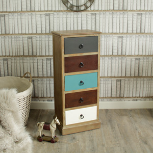 Loft Living Range - Natural Drift Wood 5 Drawer Unit
