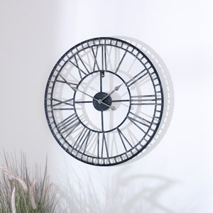 Large Black & Gold Metal Skeleton Clock 70cm x 70cm