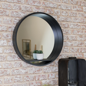 Large Round Black Mirrored Wall Shelf Unit