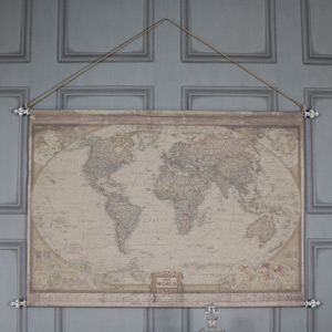 Large Vintage World Map Hanging Canvas Print