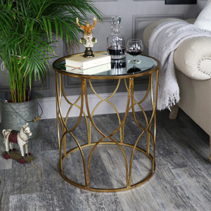 Large Ornate Gold Mirrored Side Table