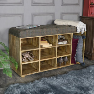 Large Rustic Upholstered Bench with Shoe Storage