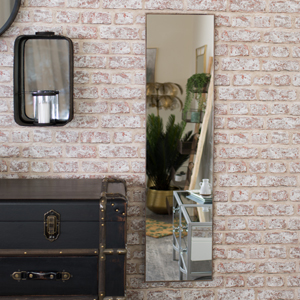 Full Length Wall Mirror with Dark Wood Frame 31cm x 121cm