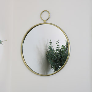 Round Gold Fob Wall Mirror