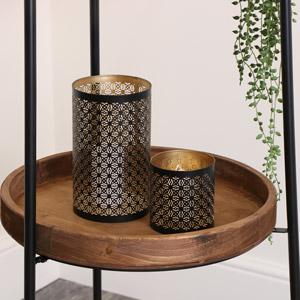 Pair of Moroccan Black & Gold Candle Lanterns