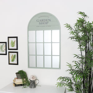 Green Arched Window Mirror