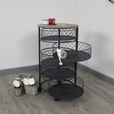 Black Metal Round Storage/Hobby Trolley