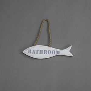White 'Bathroom' Fish Door Sign