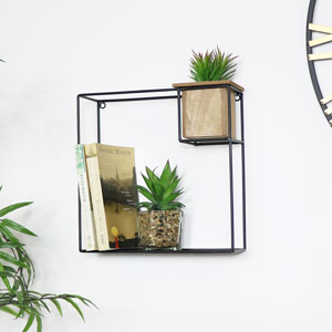 Black Metal Wire & Wood Shelf with Storage Pot